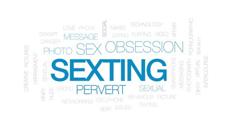 Sexting animated word cloud, text design animation. Kinetic typography.