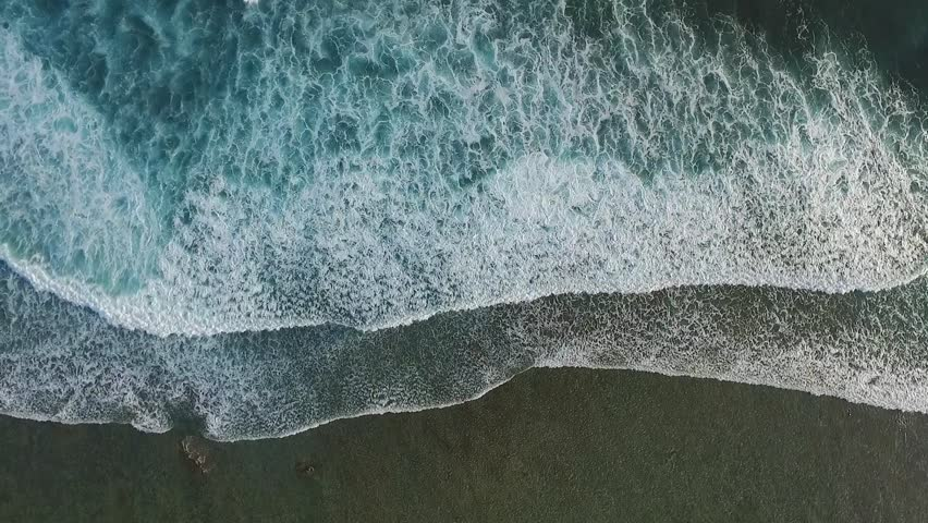 Top View of the Giant Waves, Foaming and Splashing in the Ocean, Sunny Day, Slow Motion Video, Indonesia, Bali | Shutterstock HD Video #26338877