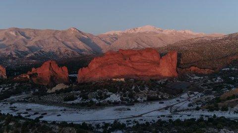 Garden of the Gods Pikes Peak Sunrise Aerial 4K