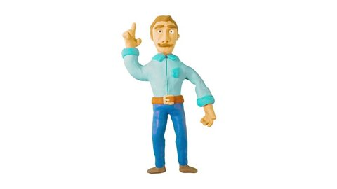 Clay man pondered and pointing his finger up and have a great idea. Claymation. Alpha matte.