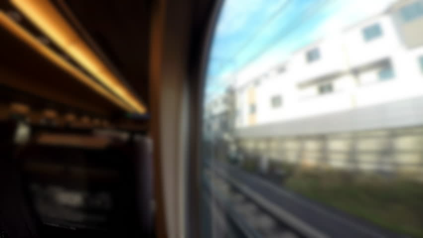 4K.Time lapse blur View from Inside the cabin and View from window of the Japanese Train while running from Tokyo to Kyoto | Shutterstock HD Video #26389343