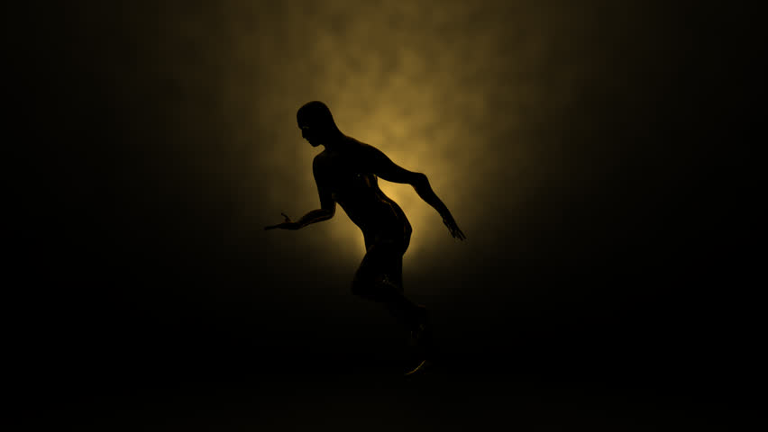 Silhouette of a slow motion runner with noisy volumetric light,rendered at 450 fps  Animation compressor