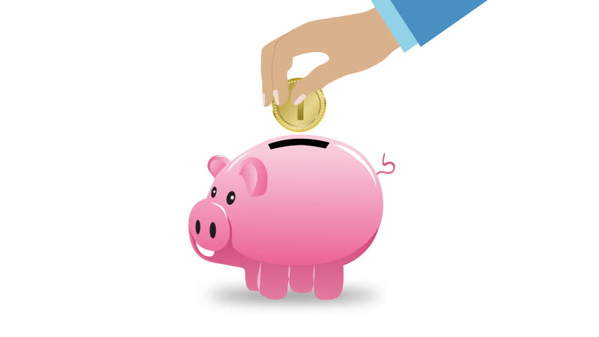 Cartoon animation pig piggy bank for the money yellow for How to make a piggy bank you can t open