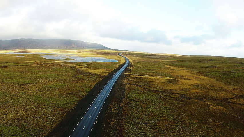 Aerial, open road in Golden Circle, Iceland | Shutterstock HD Video #26436533