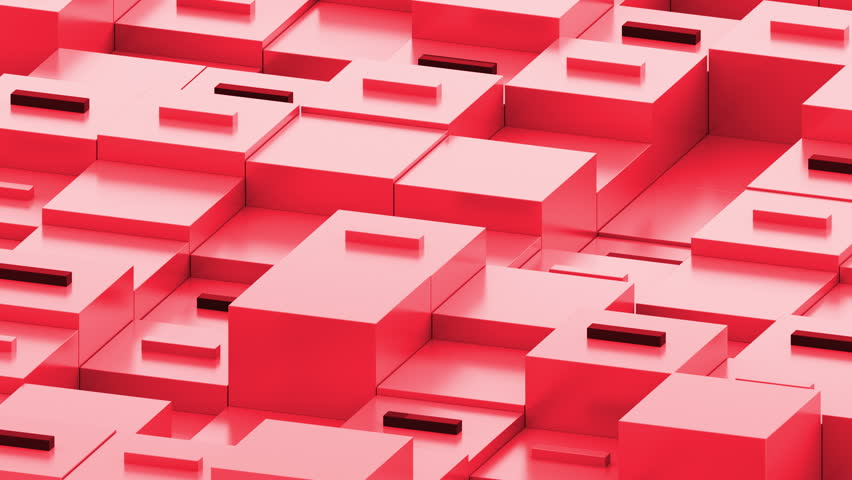 Abstract 3d render of boxes in perespective. Minus sign on the top of square primitives. Cubes with random height forms a geometric backround in dimetric perespective. | Shutterstock HD Video #26437943