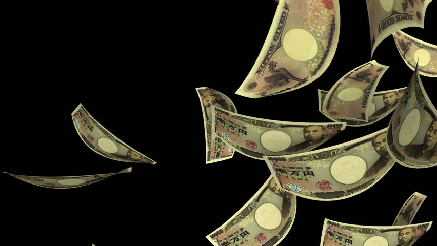 Falling Yen (Loop + Matte). Falling Japanese Yen bills (10000 JPY). Perfect for your own background. Seamless loop, no motion blur, clean mask. | Shutterstock HD Video #2645108