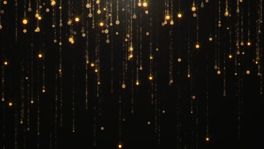 Falling gold particles flicker and shimmer against a black background. Abstract background for fashion glamor and wealth prosperity luxury   Shutterstock HD Video #26485166
