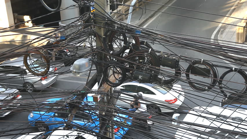Large Number Of Electrical Wires On Electric Post Above Street ...