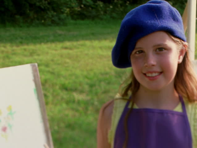 a570d0eb9498b Little Girl in Artists Beret Stock Footage Video (100% Royalty-free)  26500193