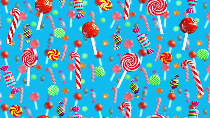 Bright glamour sweet juicy candies lollipop chupa chups caramel toffee sugar fall down. High quality background. Candy on blue.