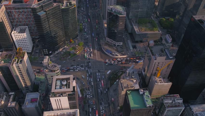 Aerial Korea Seoul April 2017 Gangnam Sunny Day