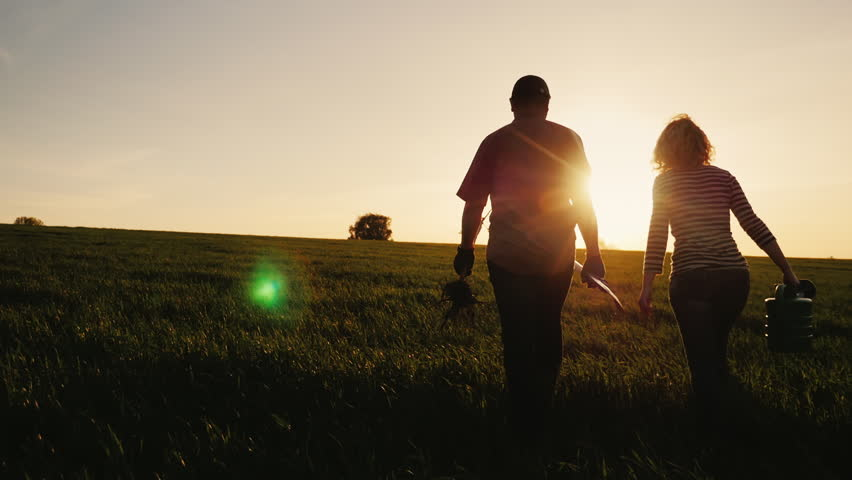 Steadicam shot: Farmers - a man and a woman walking across the field at sunset. Carry a tree seedling, a watering can and a shovel. Concept - work in the garden, volunteering, a new life | Shutterstock HD Video #26575091
