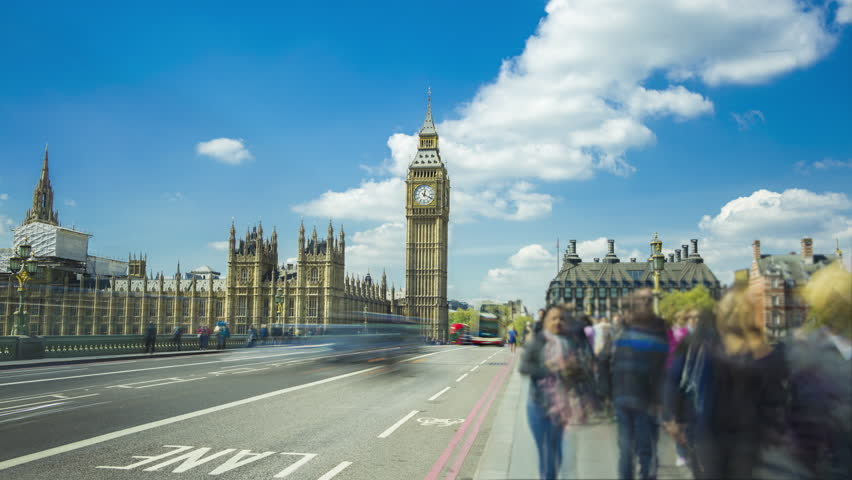 Big Ben, Elizabeth Tower, palace of Westminster, England's government, crowd of people, London, UK, Time-lapse | Shutterstock HD Video #26607293