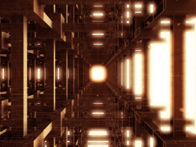 Motion Graphics. Abstract journey through sepia scaffold structure. Much motion blur. Subtle dust particles drift through structure. Preview may appear more bleached out than actual rendered footage.
