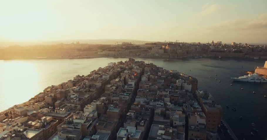 Aerial Drone Shot Of a Historic City in Malta