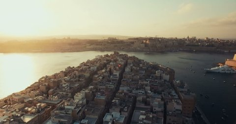 Aerial Drone Shot Of a Historic City in Malta