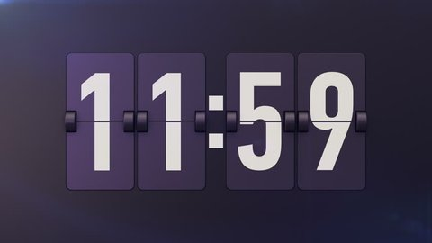 Animation of Analog flip clocks retro designs with numbers. From 11:59 to 12:00(twelve o clock).