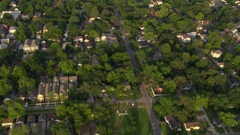 Orbiting Houston suburban neighborhoods. Shot in 2007.