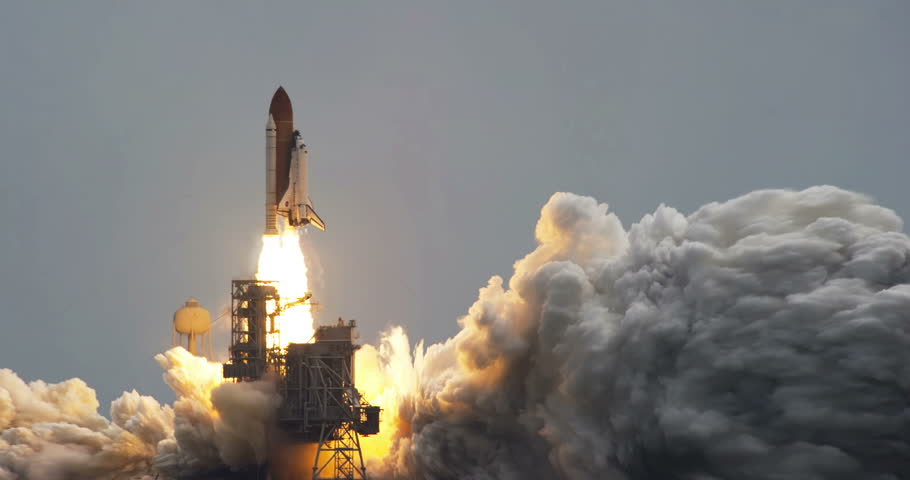 Space Shuttle Atlantis Launch Animation Wide, 4K some elements furnished by NASA images