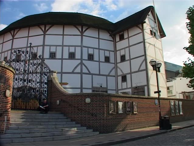 LONDON, ENGLAND - CIRCA JUNE 2005 - Establishing shot of Shakespeare's Globe Theatre, a modern reproduction of the original open-air Elizabethan playhouse in London, England.