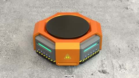Orange robots carrying pallets with goods in modern warehouse.  Modern delivery center concept. 3D rendering animation.