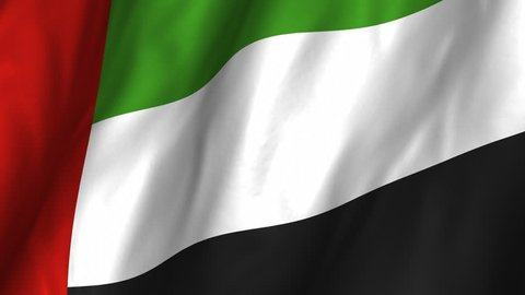 A beautiful satin finish looping flag animation of United Arab Emirates. A fully digital rendering using the official flag design in a waving, full frame composition. Animation loops at 10 seconds.