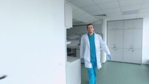 Medical Worker Walking Through White Stock Footage Video