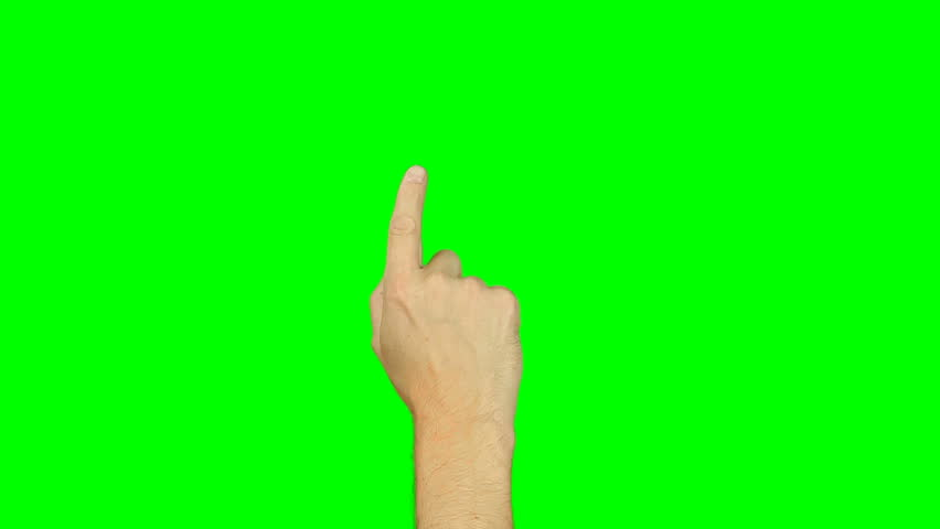 All gestures with 1 finger. Set of 11 gestures. Green screen. Tap swipe scroll double tap draw gestures on touch pad touchscreen tablet smartphone kinetics gadget. Solid green instead alpha channel. | Shutterstock HD Video #26810953