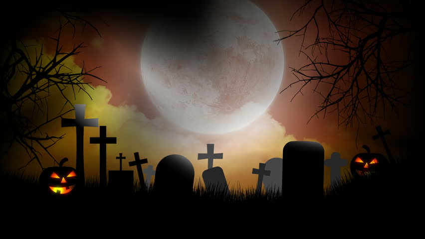halloween background with pumpkins moon and graveyard hd stock video clip - Halloween Background Video