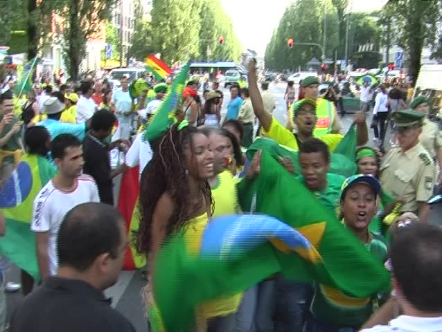 MUNICH - JUNE 27: Brazilian soccer fans celebrating during the FIFA World Cup on June 27, 2006 in Munich, Germany.