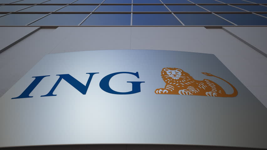 Outdoor signage board with ING Group logo. Modern office building. Editorial 3D rendering