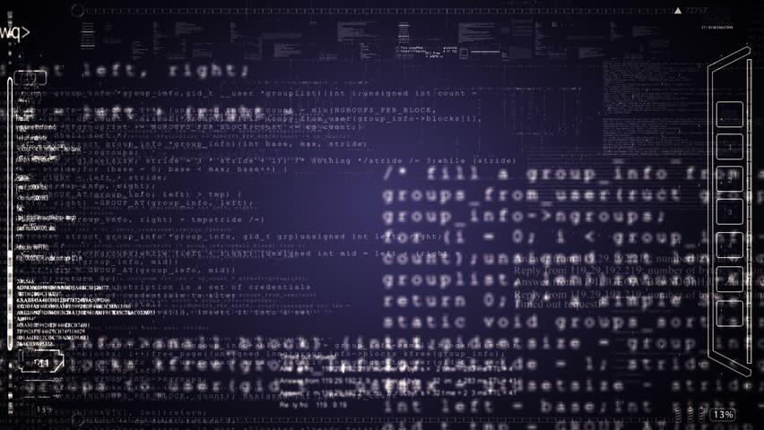 HUD computer data screens animation.Green.Camera move fast through running computer program code.Type2 | Shutterstock HD Video #26891113