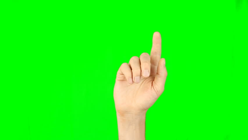 All gestures with 1 fingers front view green background. Multi touch gestures hand on green screen. Tap double-tap swipe slide up down right left hold drag pinch touch finger gestures. Have same back. | Shutterstock HD Video #26908237