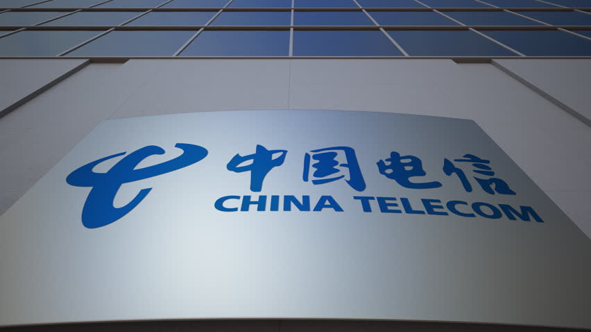 Outdoor signage board with China Telecom logo. Modern office building. Editorial 3D rendering -