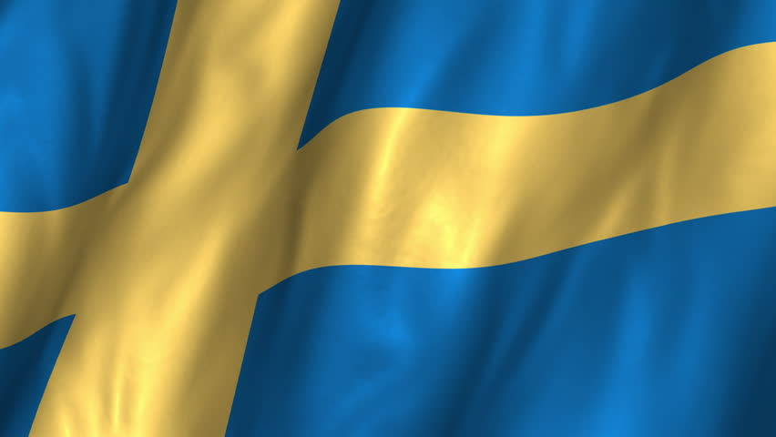 A beautiful satin finish looping flag animation of Sweden.     A fully digital rendering using the official flag design in a waving, full frame composition.  The animation loops at 10 seconds.
