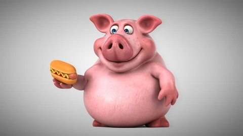 Fun pig with hot dog - 3D Animation