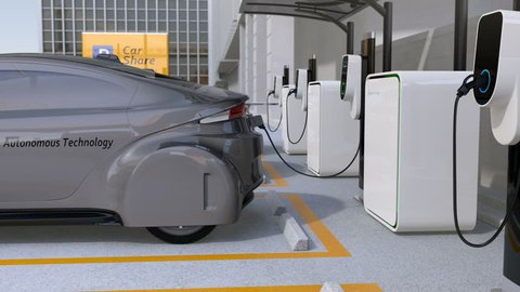 Electric cars in car sharing parking lot. Autonomous cars' sharing business concept. 3D rendering animation.