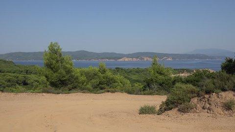 4K Amazing view wild road to seascape, Skiathos Island summer destination emblem