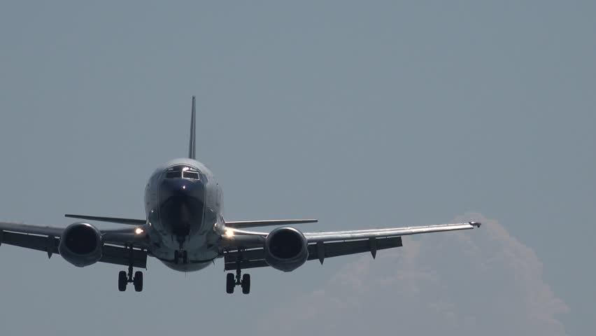 SKIATHOS ISLAND - GREECE, 5 AUGUST, 2015, 4K Big airplane land in good weather conditions , passenger aircraft travel transportation