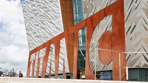 Belfast, Northern Ireland, May 17, 2017. Titanic Belfast opened in March 2009 and is built on the site of The Harland and Wolff Shipyard.
