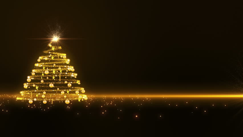gold lights christmas tree background hd stock video clip - Gold Christmas Tree Lights