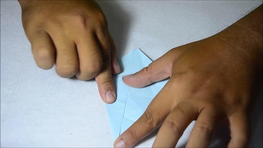 Thai Man Folding Bird Paper Or Origami Crane Japanese Style Stock