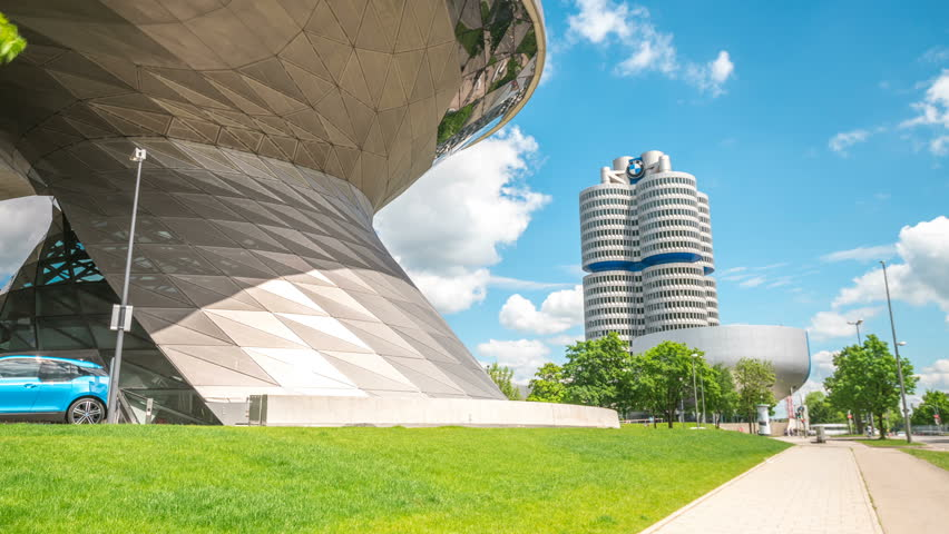 MUNICH, GERMANY - MAI 19, 2017: Hyperlapse stock video of BMW World (BMW Welt), a multi-functional customer experience and exhibition facility of the BMW AG in 4K footage.