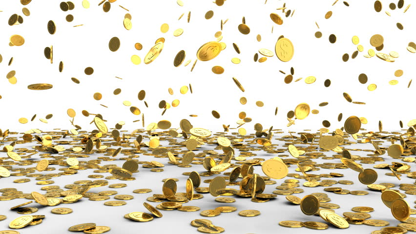 3d animation of falling golden coins over white background | Shutterstock HD Video #26997493