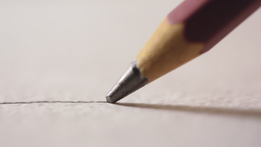 Artists hands drawing wooden pencil writes line...