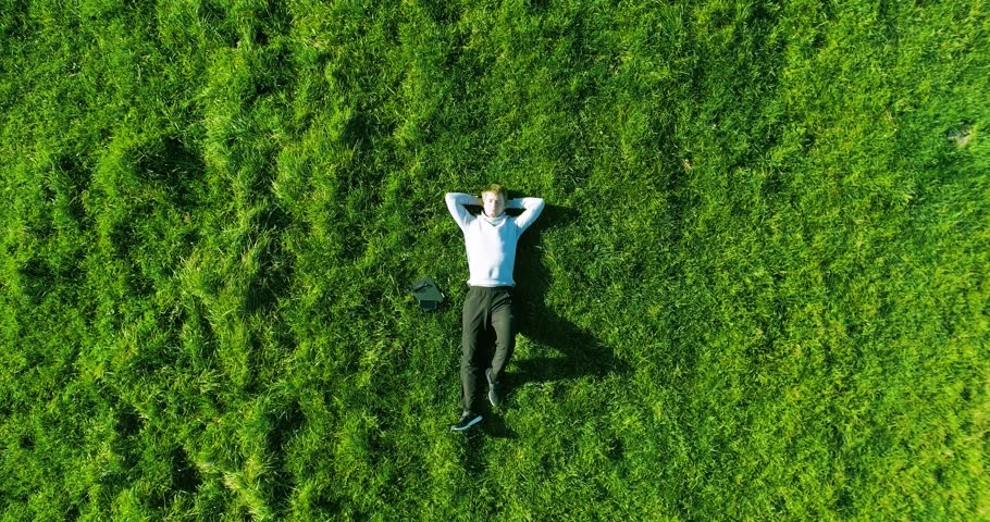 Aerial UHD 4K view. Vertical motion flight over businessman lying on fresh green meadow on a sunny Summer morning. Top view of a handsome relaxing man. | Shutterstock HD Video #27035563