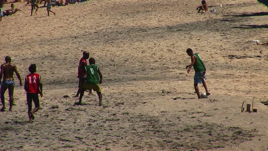 SALVADOR, BRAZIL - April 2008: Beach soccer in Salvador, Bahia, Brazil