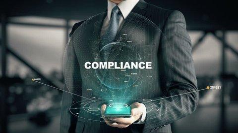 Businessman with Compliance hologram concept