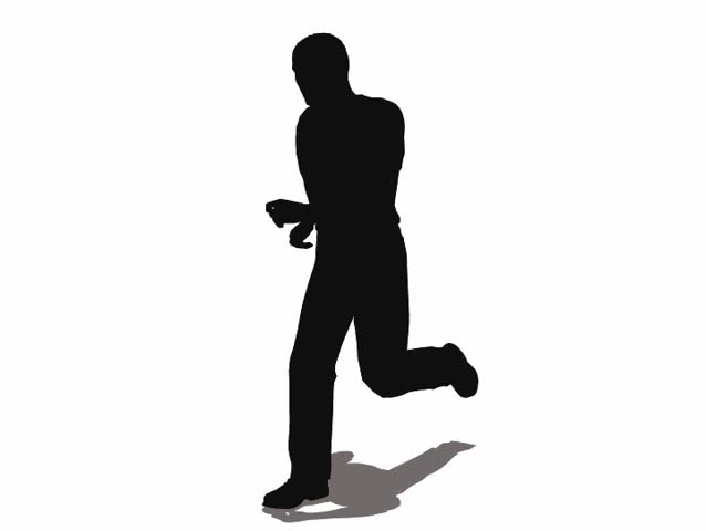 Looping animated silhouette of a man running
