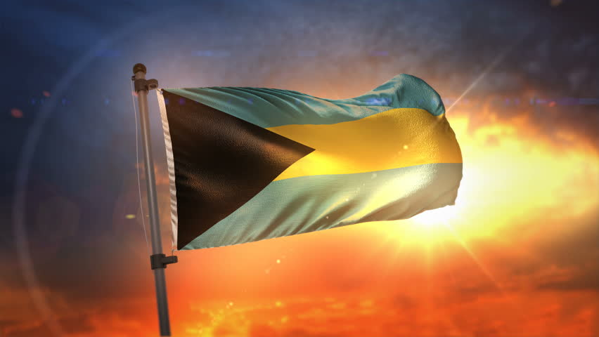 The Bahamas Flag Backlit At Beautiful Sunrise Loop Slow Motion 3D Rendering 4K